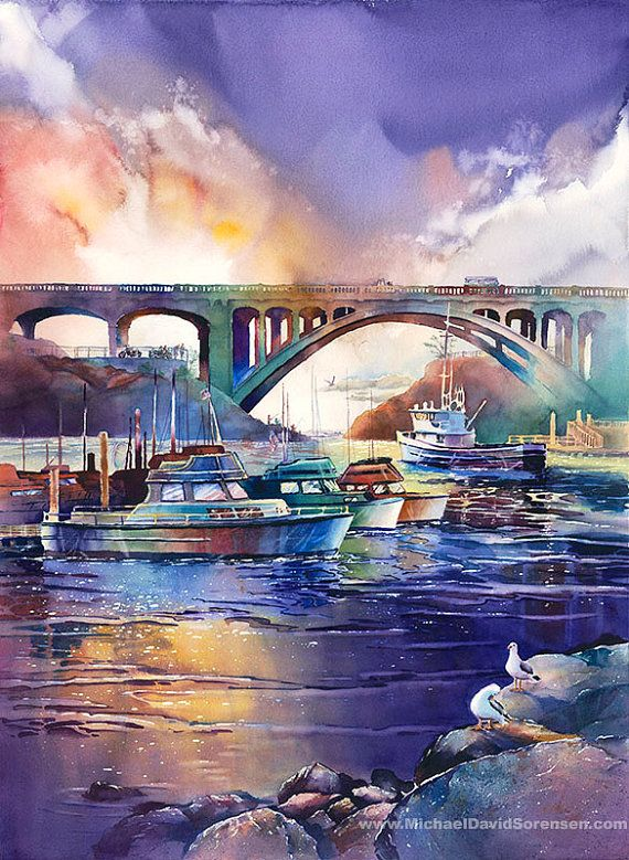 Evening Light at Depoe Bay  - Watercolor by Michael David Sorensen  www.MichaelDavidSorensen.com