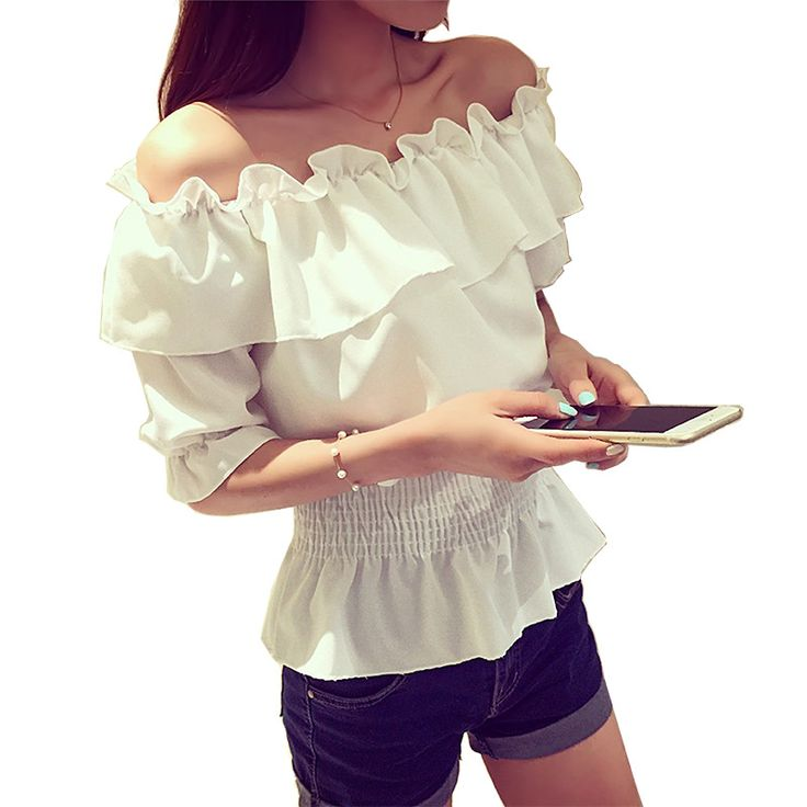 100% Cotton Shirt Short Sleeve 2018 Summer Sexy Off Shoulde Women Blouses Tops Solid Casual Female Clothing White OL Shirts