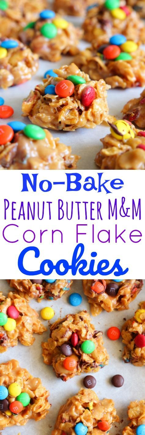 No-Bake Peanut Butter M&M Corn Flake Cookies