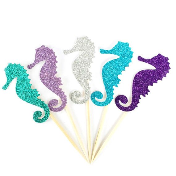 Glitter Seahorse Cupcake Toppers Under the by CloverandBloomCo
