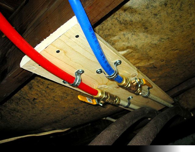 plumbing with pex pipe + brass ball valves