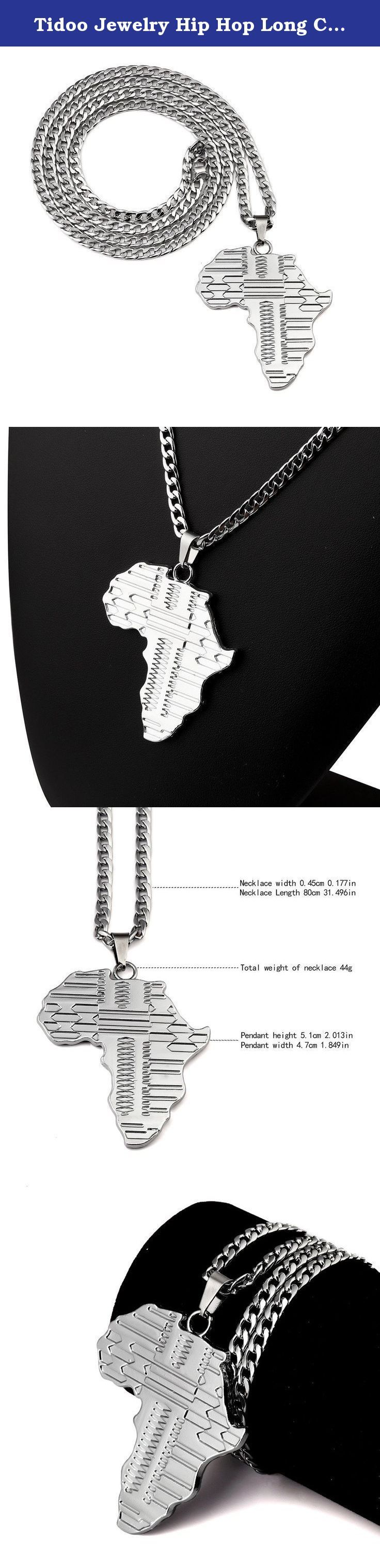 Tidoo Jewelry Hip Hop Long Chain Map of Africa Pendant Necklaces in Silver. Feature:HIP HOP, Map of Africa Color:Silver Size:Chain length 80cm(31.496in),pendant 5.1*4.7cm(2.013*1.849in) Material:Zinc Alloy Net Weight:44g (Pendant and chain) Packing:Packed with elegant gift box .