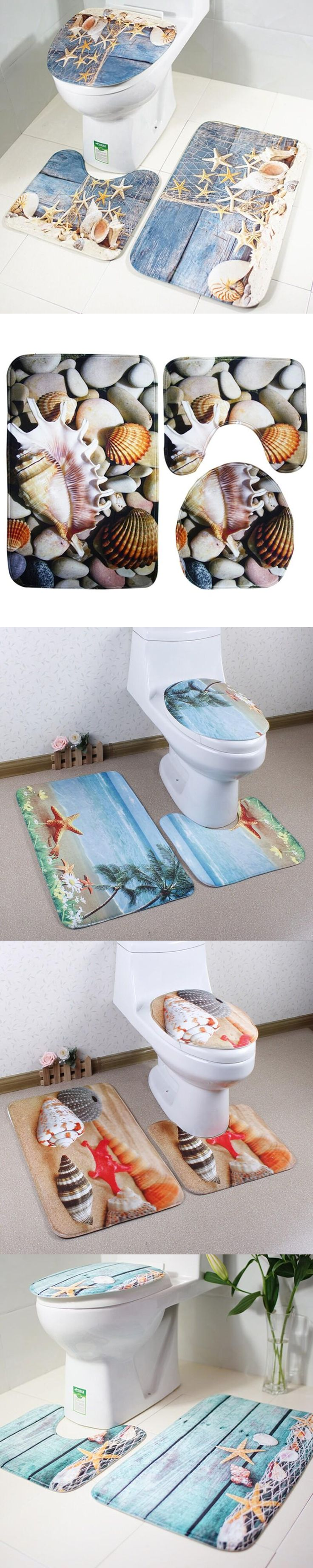 3 pieces/set Beautiful Ocean Scene Style Carpet Toilet Mat for Three Sets of Bath Mat for Bathroom
