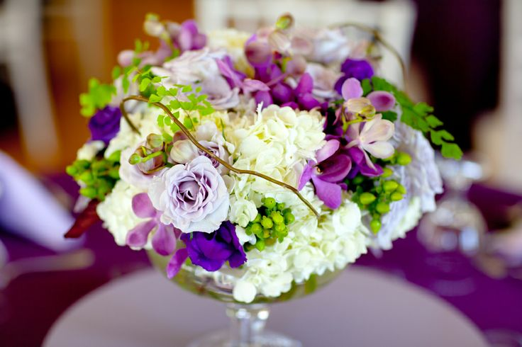 Purple, White, and Green Centerpiece