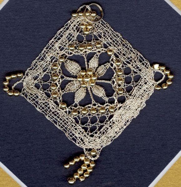 Silver Wire Bobbin Lace Pendant