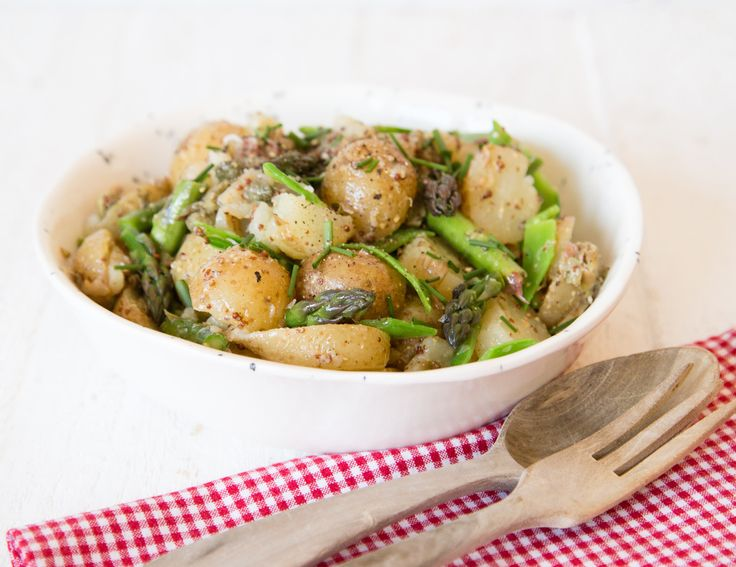Smashed new potato, asparagus