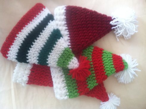 Crochet Elf / Pixie / Christmas Hats. Free pattern so excited to make one! Making one with a beard so it will be a bearded hat. And it will be fuzzy!