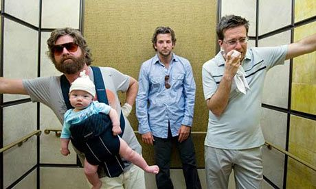 "The Hangover (2009) - 3 buddies wake up in Vegas. ""There's a chicken in the kitchen, a tiger in the bathroom and the groom's gone missing..."""