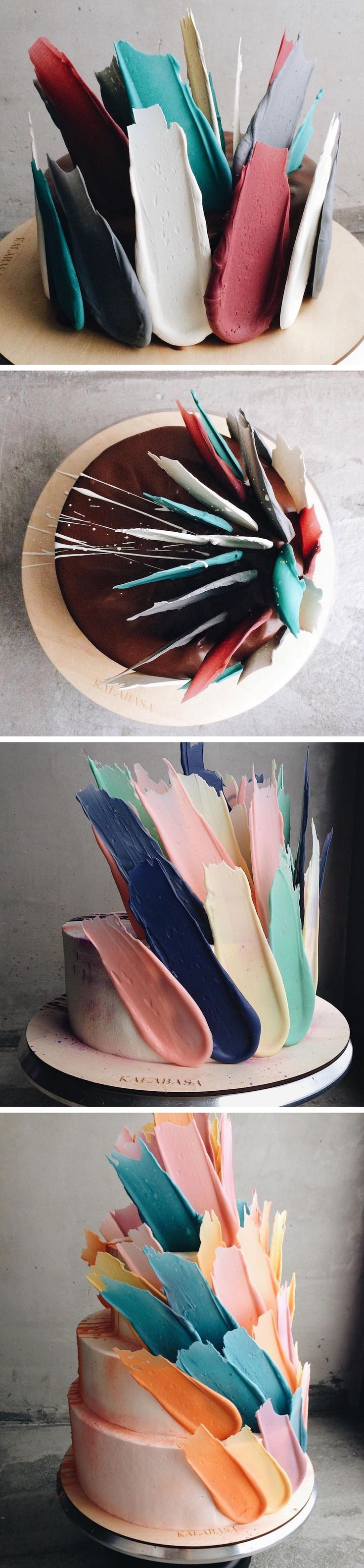 Abstract Cakes Topped With Chocolate Brushstrokes
