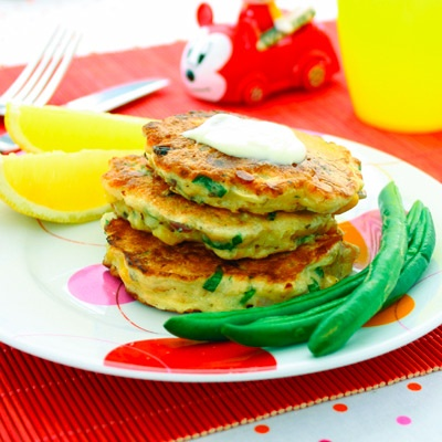 Salmon pikelets for toddler lunches