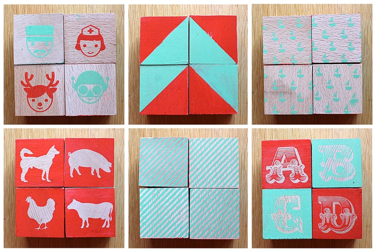 silkscreen on wood blocks for Martina