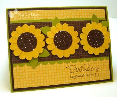 handmade birthday card from i STAMP by Nancy Riley ... three sunflowers on a band ,,, punch art flowers using scallop circle punch and circle punch ... yellow, chocolate and olive ... like how just three colors add interest and cohesion to the design ... Stampin' Up!