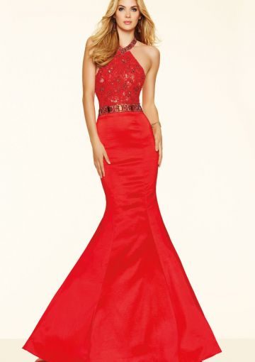 Cheap and Australia 2016 Red Mermaid Halter Neckline Beaded Lace Satin Sweep Length Evening Dress/ Prom Dresses 98125 from Dresses4Australia.com.au