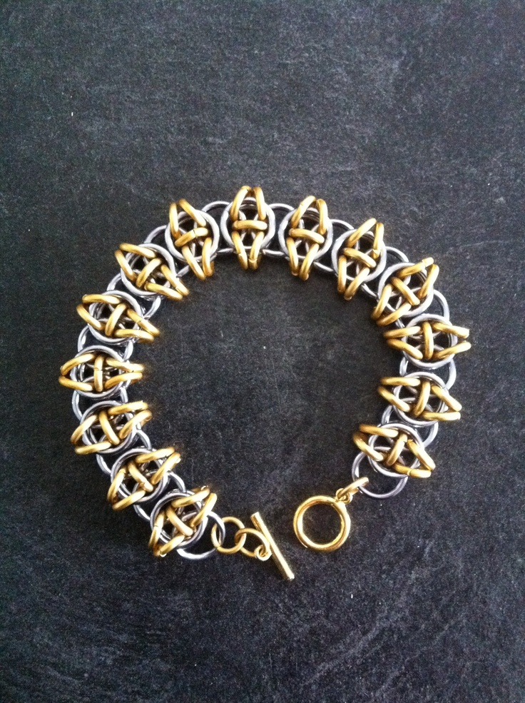 Celtic Vision bracelet made from Black Ice and Gold Aluminium rings...
