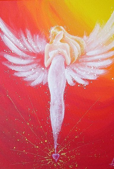 "Limited angel art photo ""connected through the heart"" , modern angel painting, artwork, perfect also for picture frame – Mirka B."