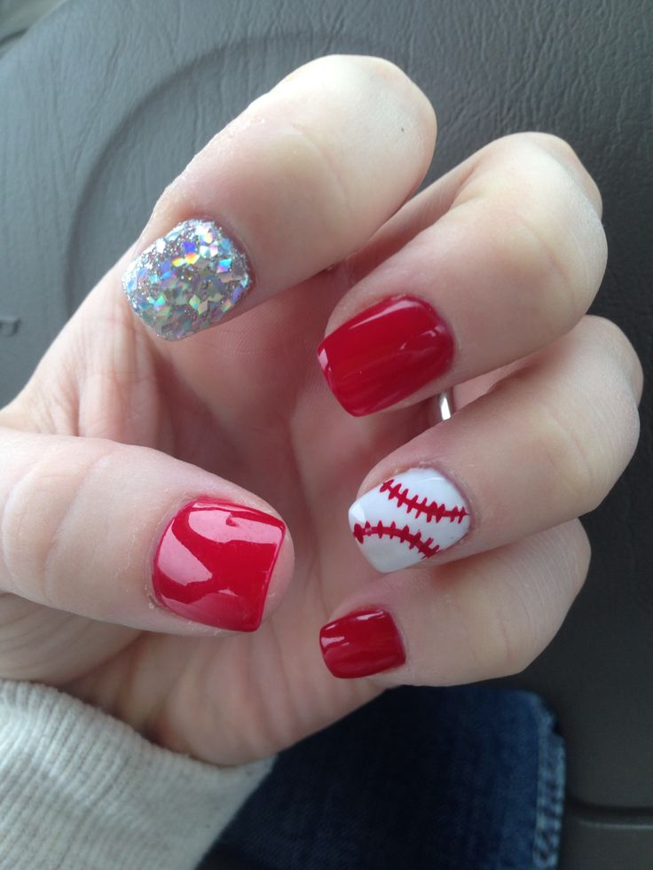 Baseball nails with a glitter statement nail :)