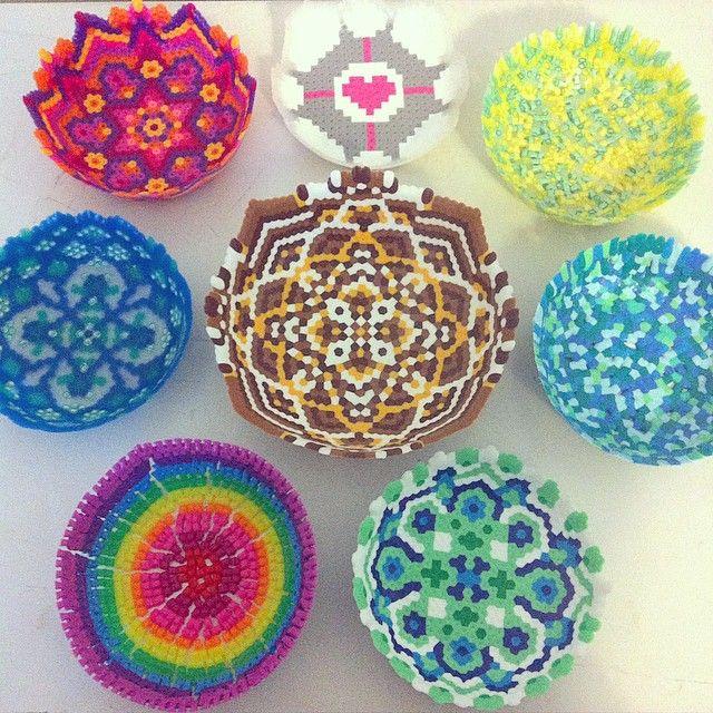 Bowls perler fuse beads by thenerdyperler