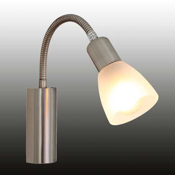 Wall Light With Goose Neck And Switch  Satin Chrome/White GlassColour: 21560Code: Price R219.00
