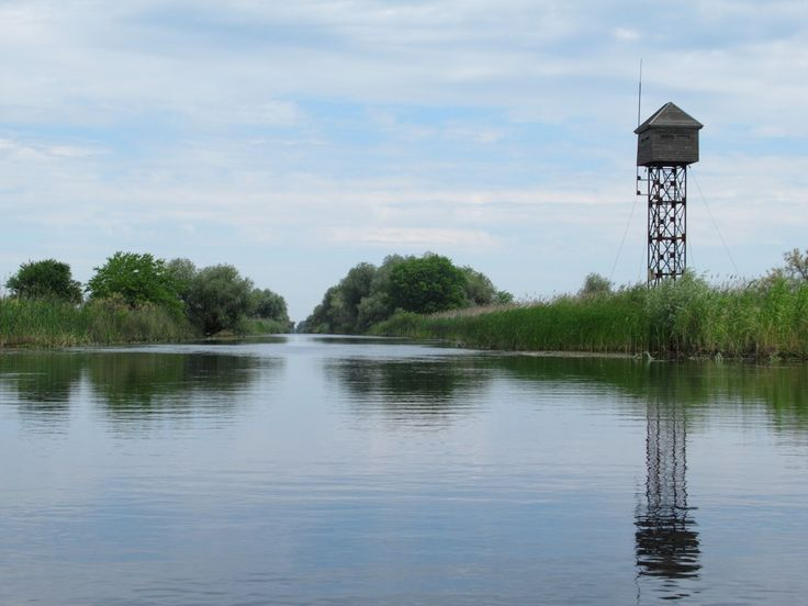 A bird watching tower stands beside the old channel of the Danube River at Dovnica in the delta near Crisan, Romania.