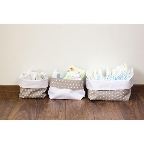 Szürke csillagos textil tároló, háromféle méretben, Pastel Baby babaszoba