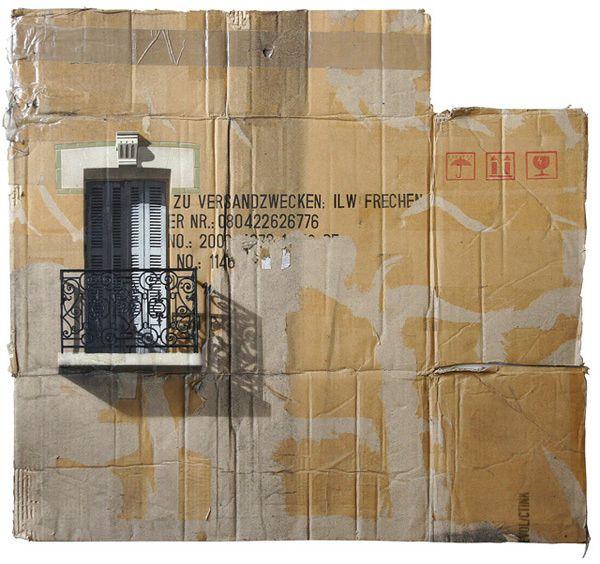 Urbano paisajes urbanos pintadas aerosol sobre paneles de cartón por EVOL en el arte