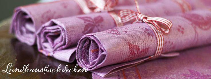 Tischsets auf hochwertigem Leinen in rosa. Jetzt bei www.Landhausgeschirr.de