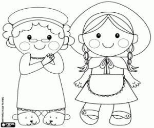 Colorear La abuelita y su nieta, Caperucita Roja