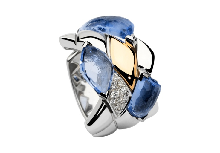 Ref. RING_PD_2003 - Anillo en oro y plata con cuarzo topacio y diamantes blancos y negros.