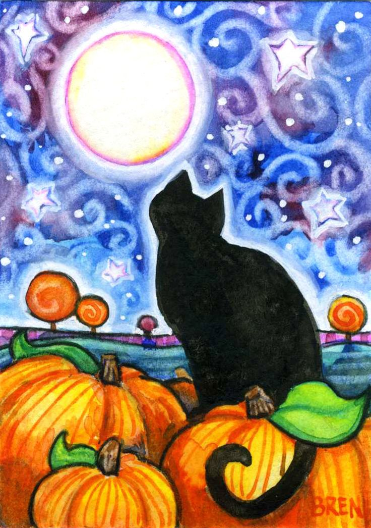 by Brenna White/Blue Lucy Studios on Etsy - black cat on pumpkin/starry night sky.
