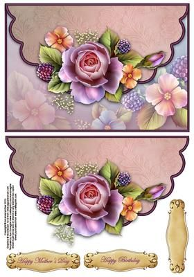 Roses and berries envelope card on Craftsuprint designed by Amanda McGee - Stunning envelope card featuring roses and berries design.
