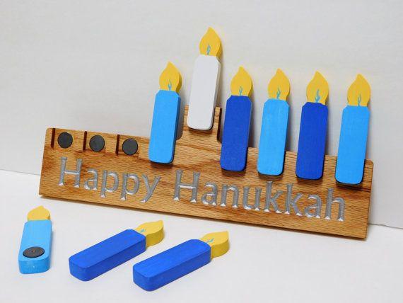 Magnetic Hanukkah Menorah by CursonContours on Etsy