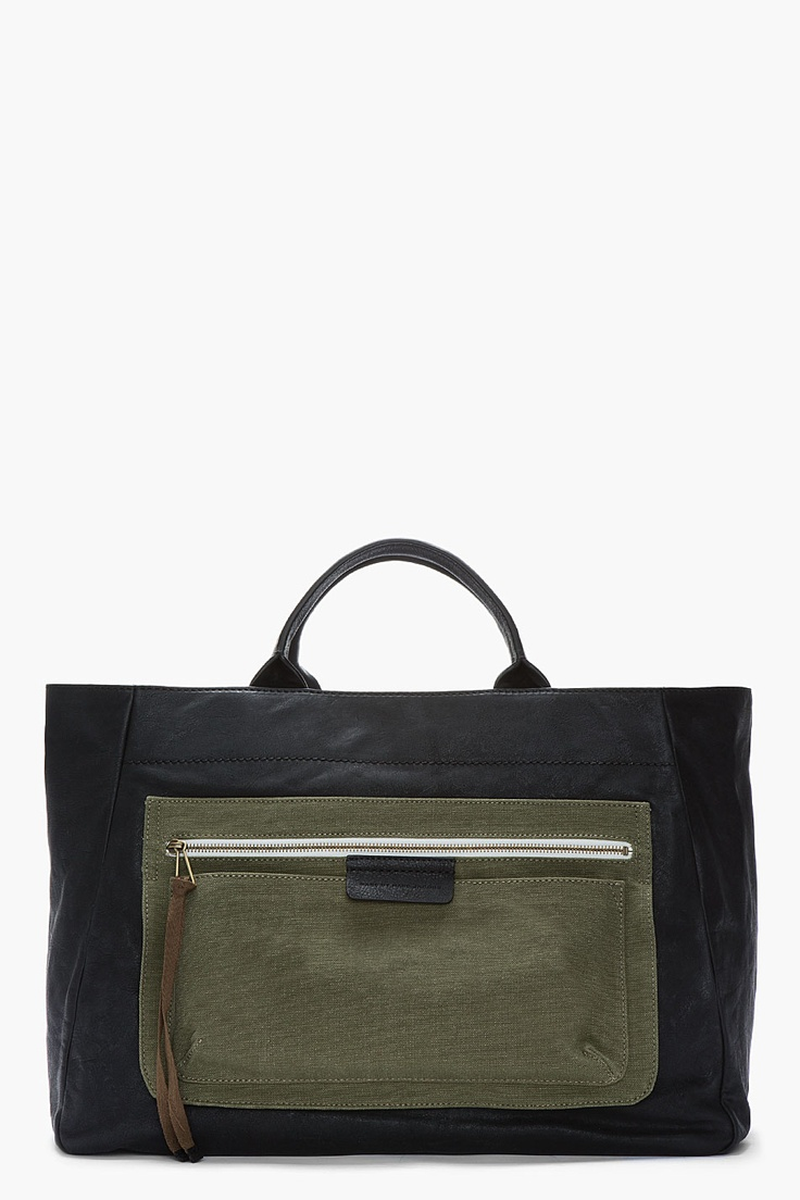 MARC BY MARC JACOBS Black & Bamboo Green Leather 2 Pock & Biggie East Coast Tote