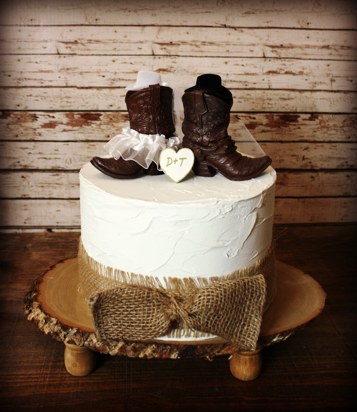 Cowboy Cowgirl Wedding Ideas: Cowboy Boots Wedding Cake Topper Western