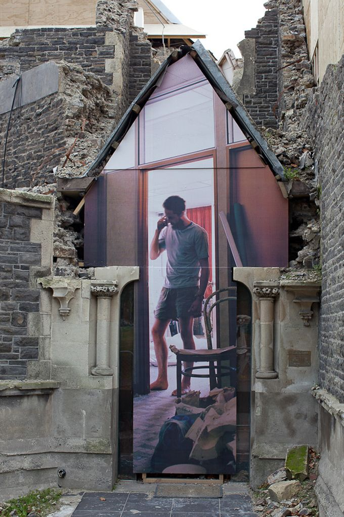 In Christchurch, New Zealand, 10 massive optical illusion-inducing mixed-media art pieces by Mike Hewson pay homage to the former Christchurch Normal School which opened in 1876.    The building, completely renovated for apartment and retail use in 1981 and renamed Cranmer Courts, was damaged badly in the February 2012 magnitude 6.3 earthquake and it is now destined for demolition.