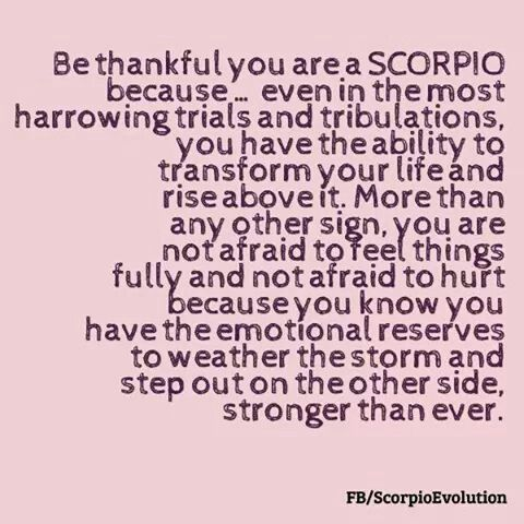 Be thankful you are a Scorpio