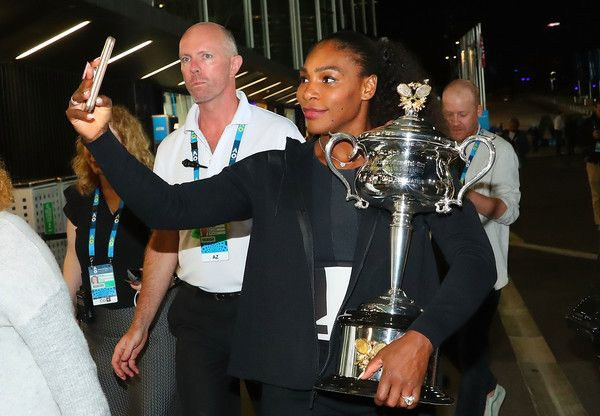 Serena Williams Photos - Serena Williams of the United States poses for a selfie photo with the Daphne Akhurst Memorial Cup after winning the 2017 Women's Singles Australian Open Championship at Melbourne Park on January 28, 2017 in Melbourne, Australia. - Australian Open 2017 - Women's Champion Photocall