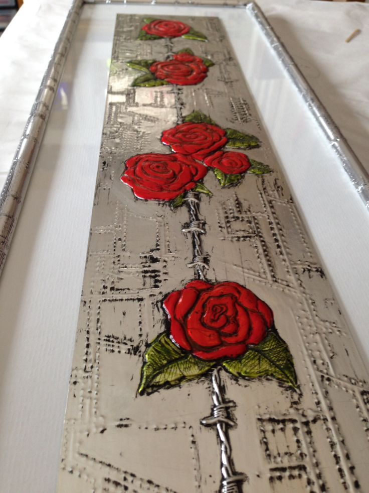 Pewter sheet with kabuka Boy Mold barbed wire - roses painted with glass paint. Elitia Hart Metal Art- www.pewterart.ca