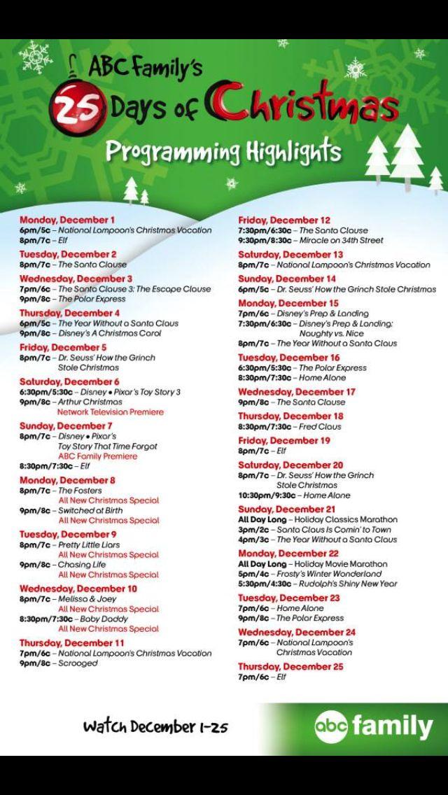ABC Family 25 Days of Christmas!! COUNTDOWN!!!