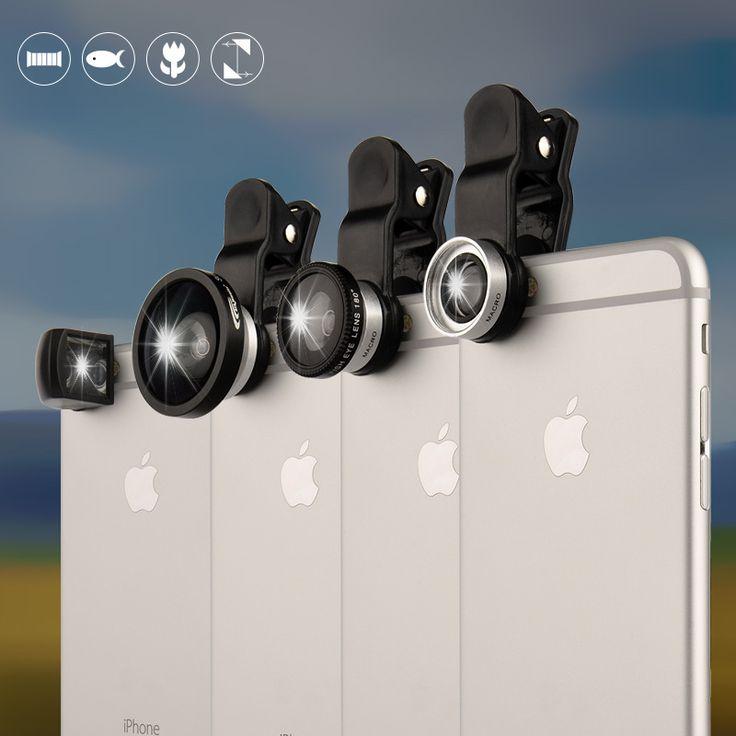 Universal Clip 4 in1 Рыбий Глаз рыбий глаз Объектив Широкоугольный Макро Мобильного телефон Объектив для Samsung S6 iPhone 6 Рыбий Глаз Широкоугольный Объектив