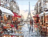 Парижская улочка.  Худ. Брент Хейтон Все раскраски  картина по номерам фото