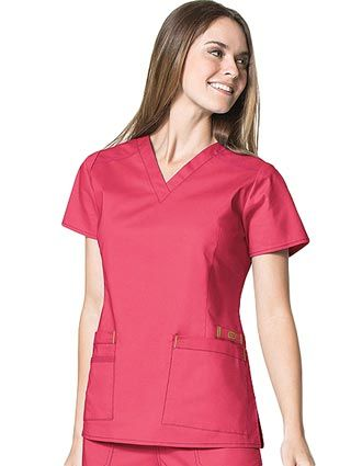"""Style Code: (WI-6108)  This WonderWink """"Lady"""" fit Darted V-neck Top has 2 lower tilted pockets, including 1 WonderWink signature triple pocket. It has 2 front body darts for superior shaping and triple-needle stitching at the dropped shoulder."""
