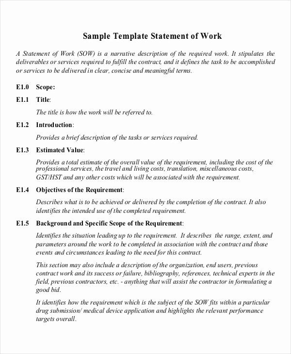 Statement Of Work Sample Fresh Free 20 Statement Of Work Examples Samples In Pdf Statement Of Work Cover Page Template Word How To Make Brochure