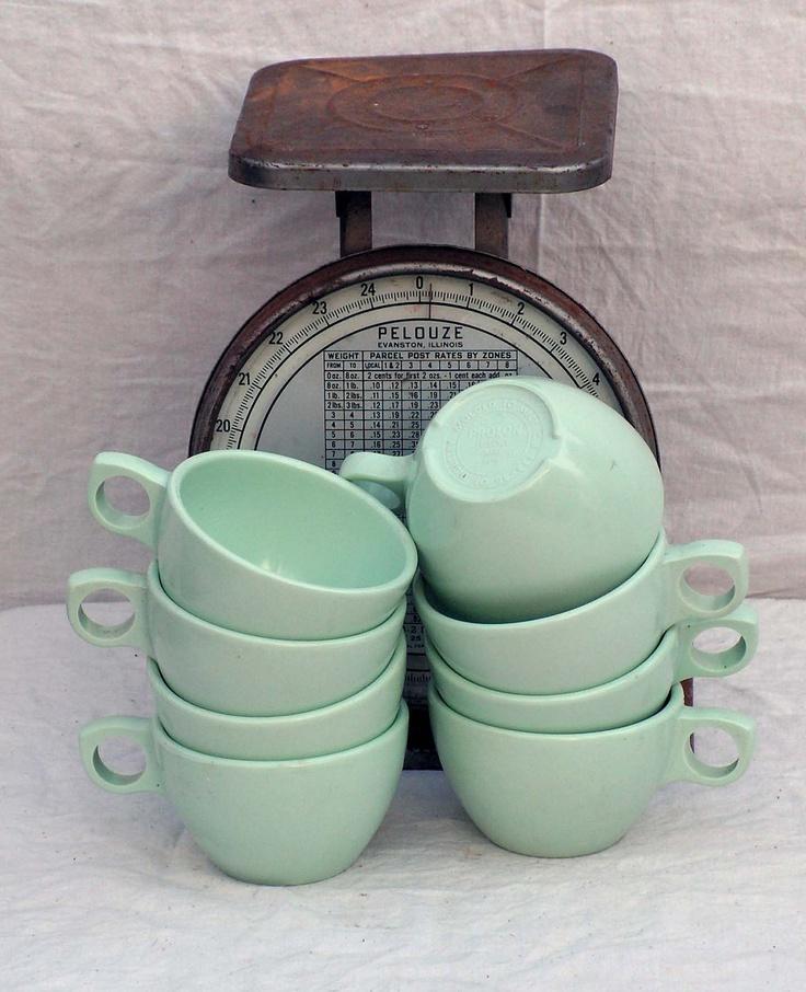 Prolon Florence Coffee Cups Aqua Pale Jadite Green Melmac Melamine Set Of 6 Six 1950s Mid Century Kitchen Dining Ware. $25,89, via Etsy.