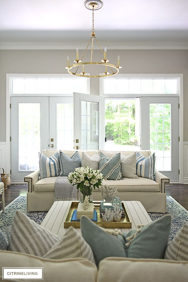 Summer Living Room Tour With Blue White Summer Living Room Farm House Living Room Modern Furniture Living Room