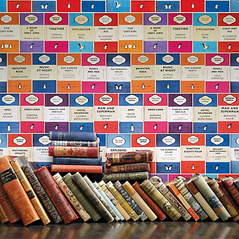 Buy Osborne & Little Penguin Library Wallpaper Online at johnlewis.com - if only i had £65!