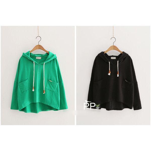 Plain Hoodie (£19) ❤ liked on Polyvore featuring tops, hoodies, sleeve top, long sleeve hooded sweatshirt, hoodie top, cotton hoodies and sweatshirt hoodies