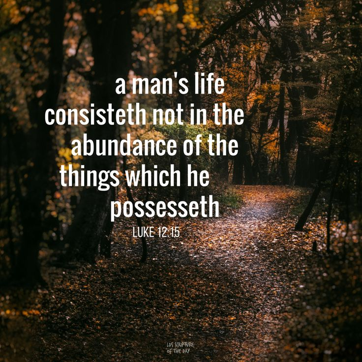 """Take heed, and beware of covetousness: for a man's life consisteth not in the abundance of the things which he possesseth"" (Luke 12:5). lds.org/scriptures/nt/luke/12.15#p14 Enjoy more from the #HolyBible facebook.com/212128295484505. #ShareGoodness"