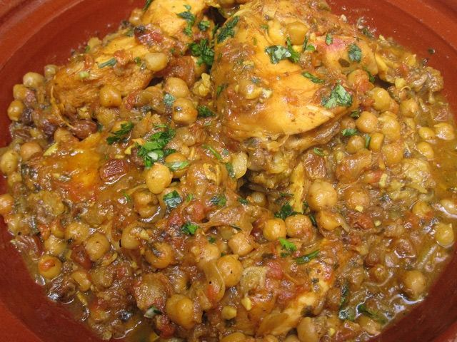 Moroccan Chicken Tagine With Chickpeas and Raisins or ...