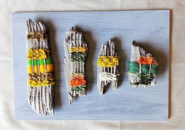 Cuadro decorativo confeccionado con palos de madera nativa y lana de oveja