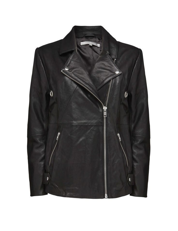 Sioni leather jacket -Women's biker-inspired jacket in leather. Features off-centre visible zip closure at front. Biker collar with press studs. Side pockets with zip closure and zips at cuffs. Eyelet details and darts at elbows. Regular fit. Hip length.